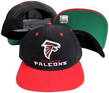 b2803cef242 Image Unavailable. Image not available for. Color  Atlanta Falcons Word  Black Red Two Tone Plastic Snapback Adjustable Plastic Snap Back Hat
