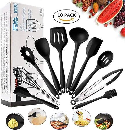 Conjunto de utensilios de cocina - utensilios de cocina de silicona Juego de 10 piezas Set de utensilios antiadherentes resistentes a los golpes - Resistente al calor Utensilios de Cocina (Negro): Amazon.es: Hogar