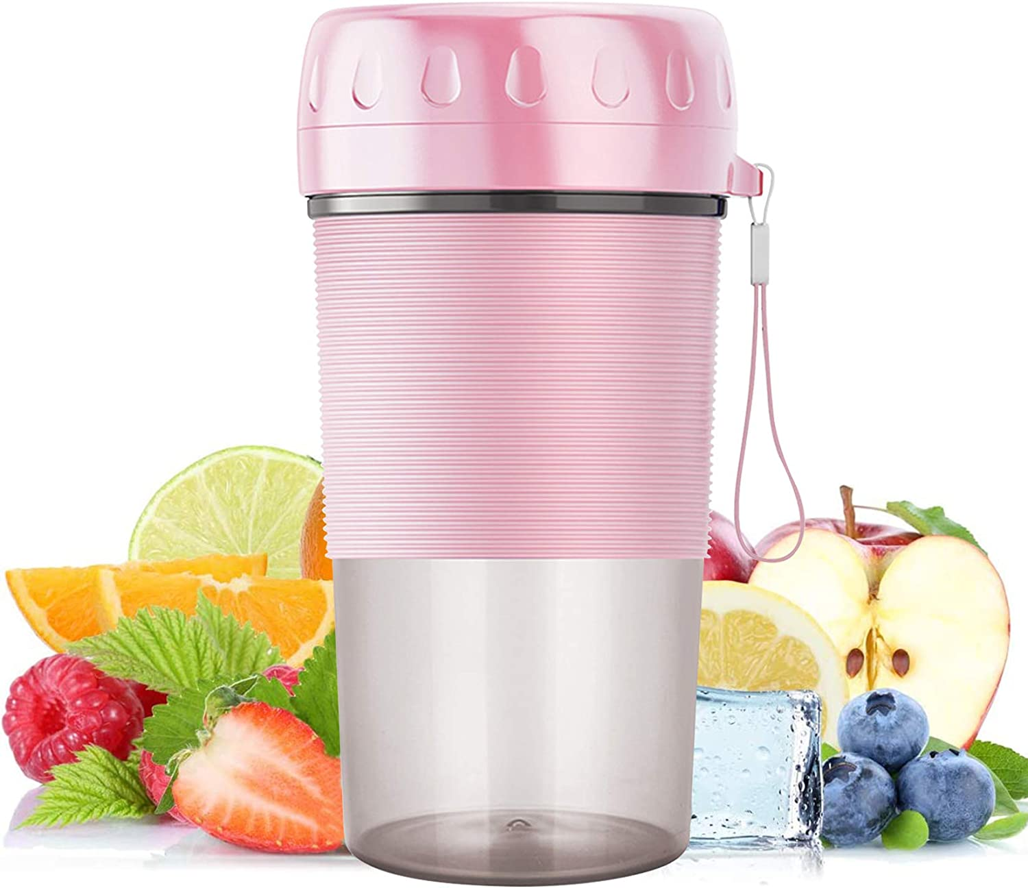 Portable Blender, Personal Blender Juicer Cup, USB Rechargeable Juicer Cup Bottle Mini Travel Fruit Shaker 300ml Upgraded Blades for Home Office Sports Travel Picnic(Cherry Pink)