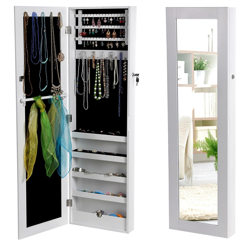 Armoire à bijoux avec miroir Songmics - Meuble blanc 2-en-1 JBC24W ...