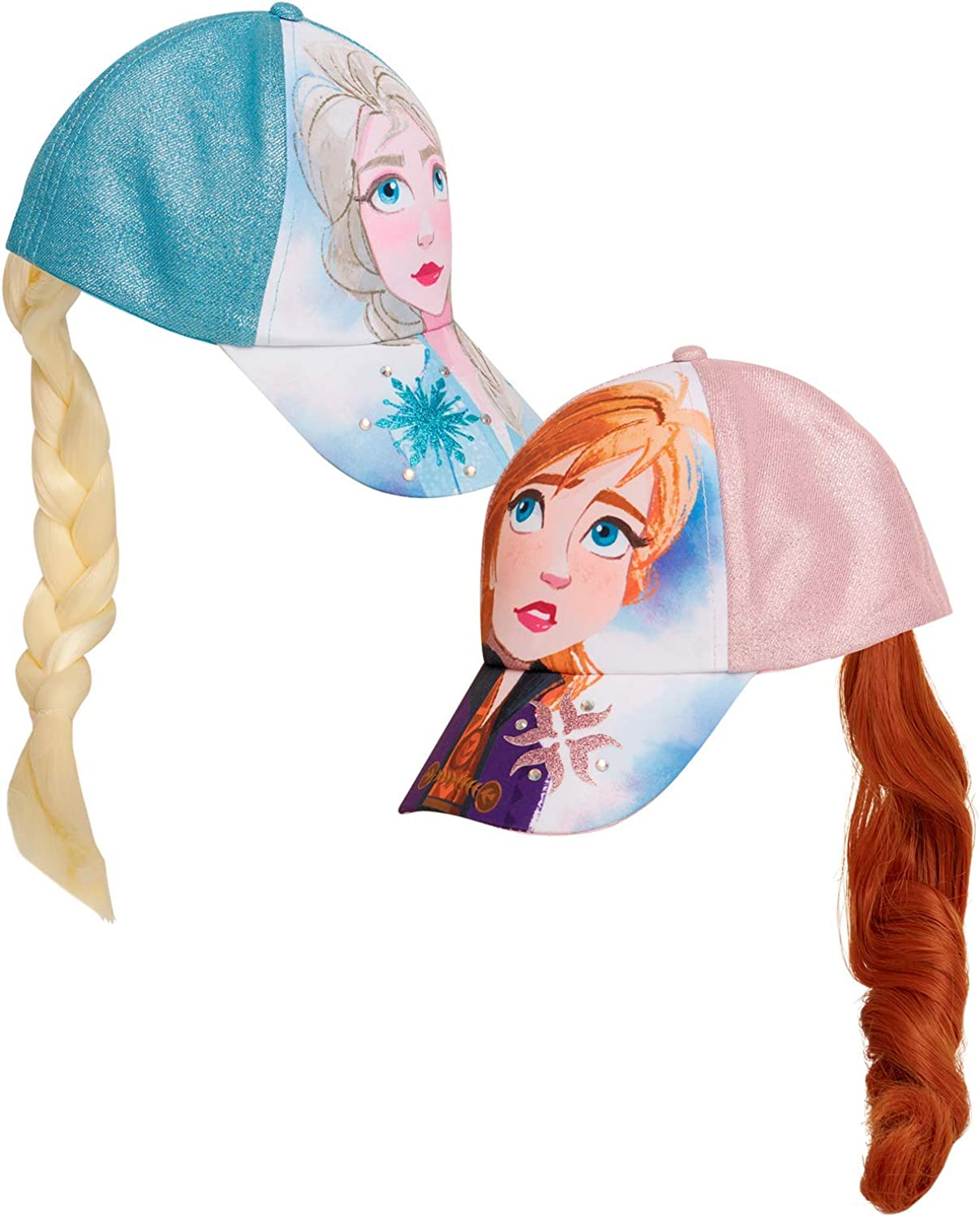 Disney Girls' Frozen Baseball Caps - 2 Pack Elsa and Anna Glitter Hat with Faux Ponytail Set (Ages 4-7), Size Age 4-7, Elsa/Anna Ponytail Cap: Clothing