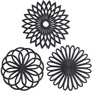 Set of 3 Silicone Trivet Mat - Hot Pot Holder Hot Pads for Table & Countertop - Trivet for Hot Dishes - Non-Slip & Heat Resistant Modern Kitchen Hot Pads for Pots & Pans, Black