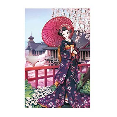 Jigsaw Puzzles Japanese Anime Wearing Kimono Girl and Cherry Blossom Pattern,Games 1000 Pieces Large Interesting Painting Toys for Kids Adult, Interactive Educational Game-27.53 x 19.69 Inch: Toys & Games