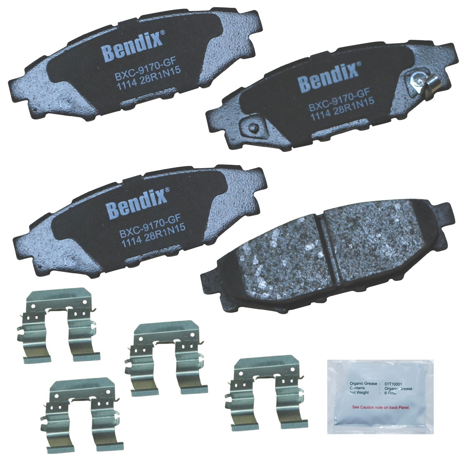 Bendix Premium Copper Free CFC1114 Premium Copper Free Ceramic Brake Pad (with Installation Hardware Rear)
