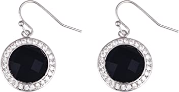 AUBREY LEE Simulated Blue Sapphire Stud Post Earring in Rhodium Plated Brass