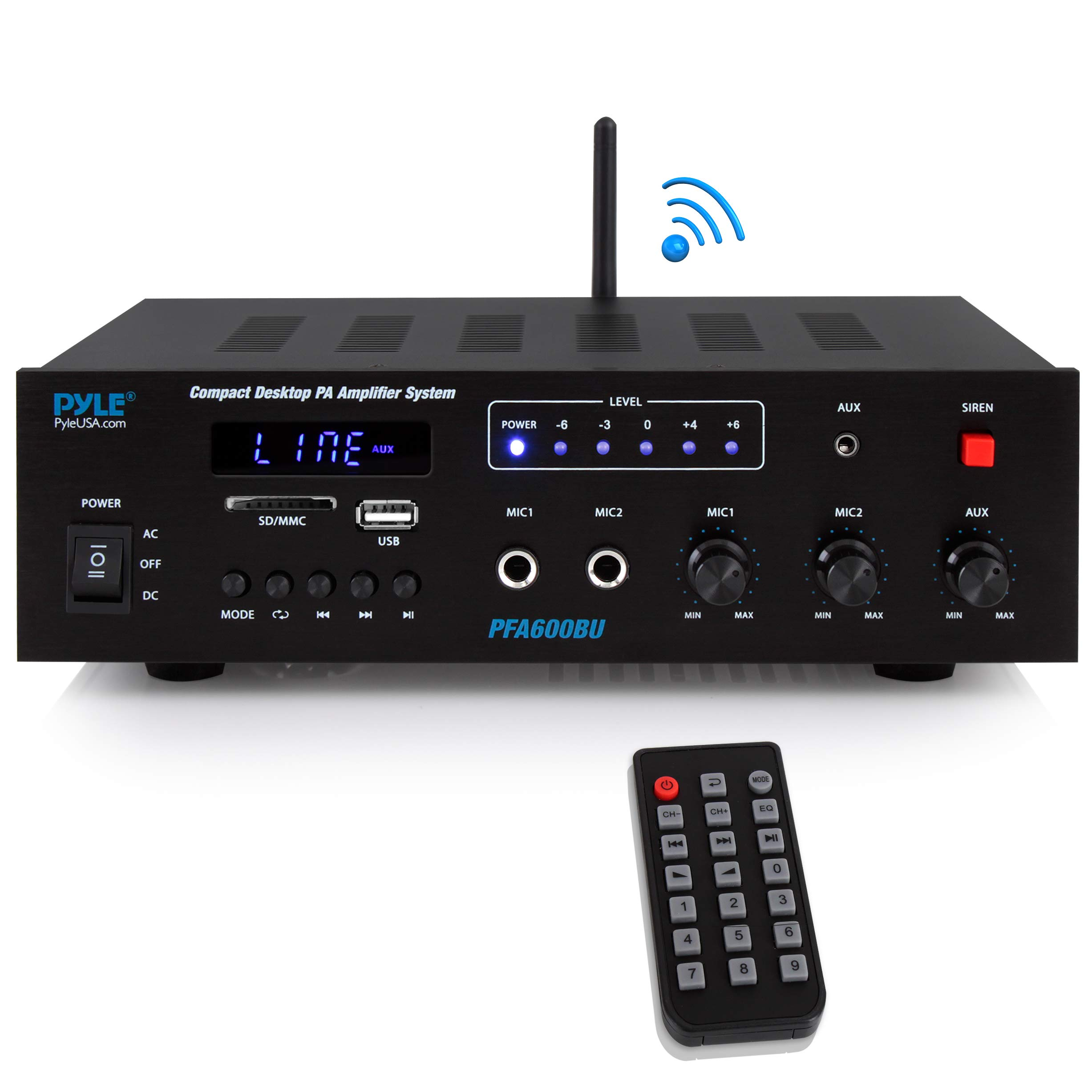 Wireless Bluetooth Karaoke Amplifier - 300 Watts 2 Channel  Digital Home Audio PA Receiver System 2 Microphone Input Control, FM Radio, USB,12 Volt Power Option - Pyle PFA600BU by Pyle