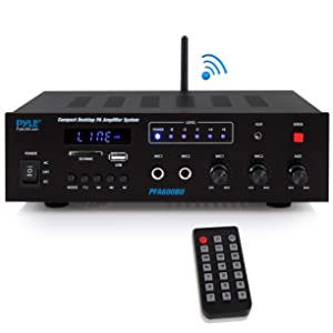 Wireless Bluetooth Karaoke Amplifier - 300 Watts 2 ChannelDigital Home Audio PA Receiver System 2 Microphone Input Control, FM Radio, USB,12 Volt Power Option - Pyle PFA600BU