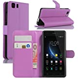 Doogee X5 Case, Doogee X5 Pro Case, HualuBro [Kickstand] PU Leather Wallet Flip Phone Case Cover with Stand Card Holder for Doogee X5 / X5C / X5S / Doogee X5 Pro Smartphone (Purple)