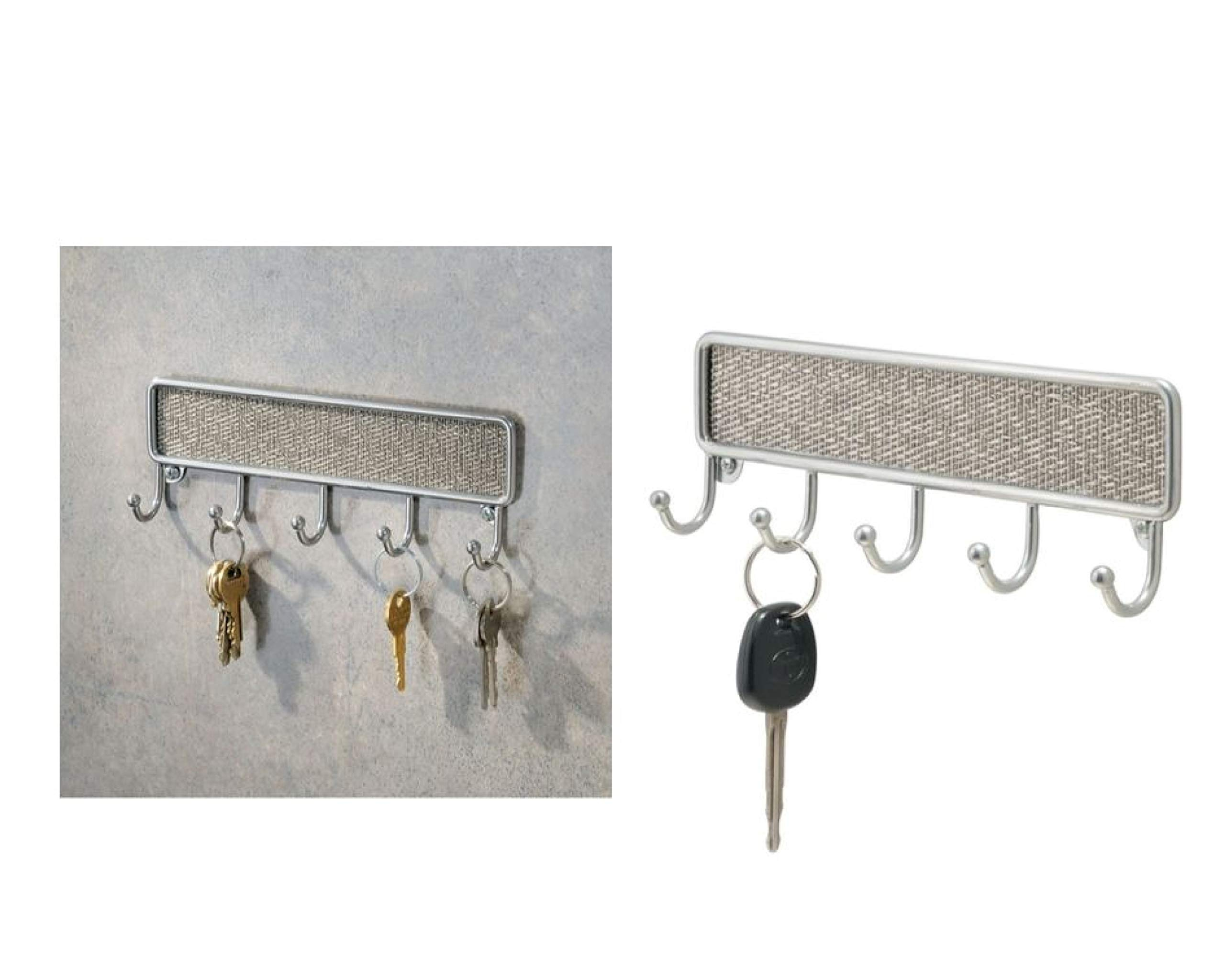 Idesign Twillo Wall Mounted Key Holder Small Metal And Plastic Key Hooks Strip With Five Hooks Silver Coloured Buy Online In Dominica At Dominica Desertcart Com Productid 48769889