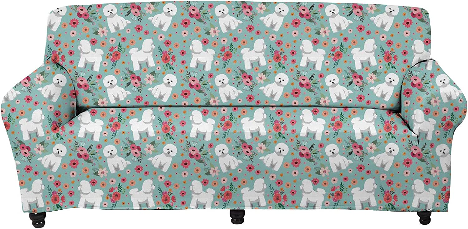 WELLFLYHOM Bichon Frise Pattern Sofa Cover 3 Seater Large 1 Piece Couch Cover Stretch Sofa Slipcover Elastic Band Non Slip Armchair Covers for Chairs Office Living Room Pet Dog Cat Proof
