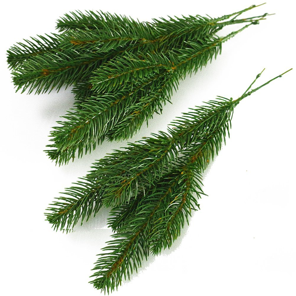 Yarssir 25pcs Artificial Greenery Pine Needle Garland Pine Picks Christmas Holiday Home Decor, 7x3 inches(Green-25 Pack) by Yarssir (Image #3)
