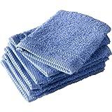De Witte Lietaer 194824 Lot de 6 Gants de Toilette Coton Bleu 15 x 22 cm