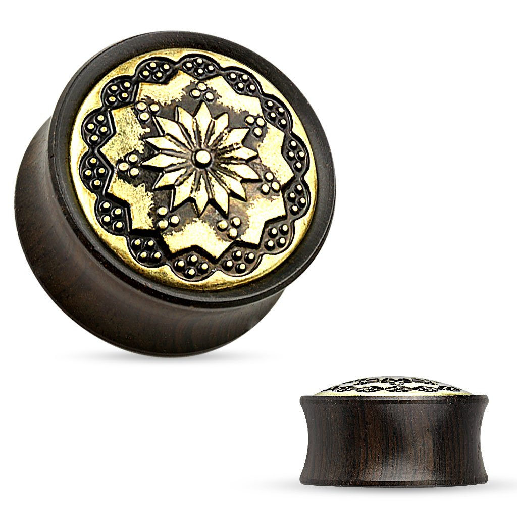 FLORAL TRIBAL PATTERN EBONY WOOD DOUBLE FLARE SADDLE FIT PLUGS SOLD PER PAIR