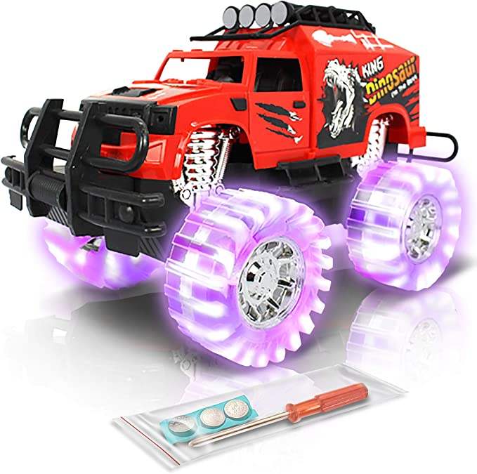 Amazon Com Artcreativity Light Up Red Monster Trucks 11 Inch Monster Truck With Beautiful Flashing Led Tires And Cool Music Push N Go Toy Cars Best Gift For Boys