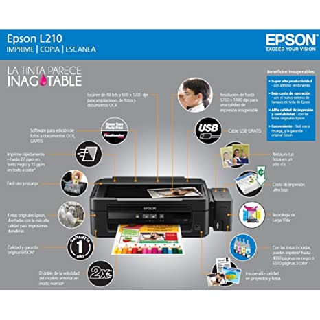 EPSON L210 Inkjet Printer Copier Scanner All-in-One with Ink