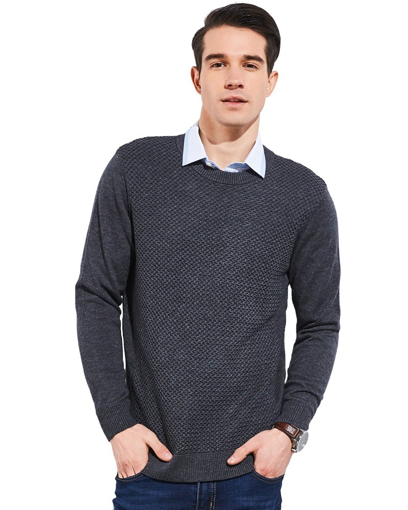 UAISI Men 47% wool Long Sleeve Pullover Crew Neck Sweater (M, Grey)