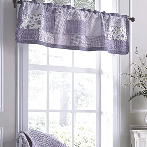 Donna Sharp Valance – Lavender Rose Contemporary Decorative Window Treatment with Patchwork Pattern