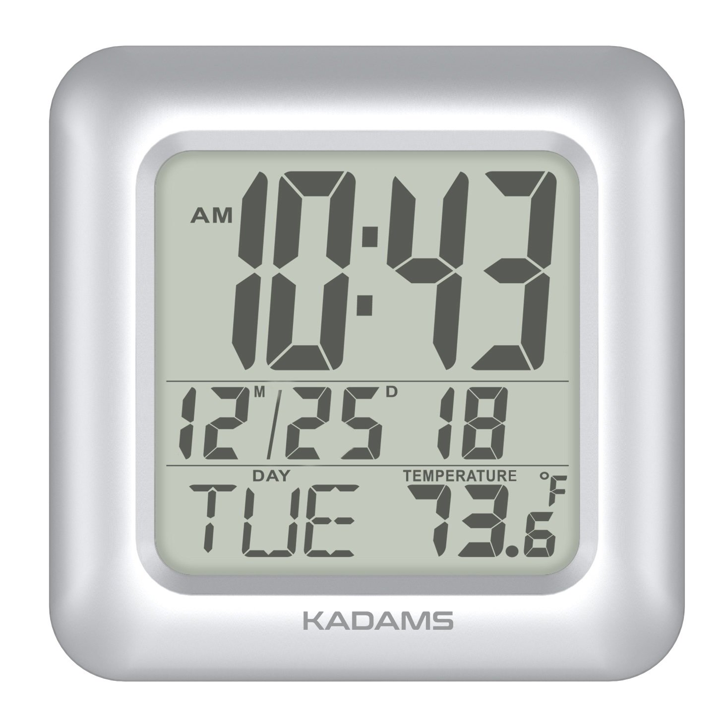 KADAMS Digital Bathroom Shower Clock, Waterproof for Water Spray, Temperature, Seconds Counter, Humidity and Moisture Proof, Month Date Day Display, Suction Cups, Table Stand, Wall Clock - SILVER by KADAMS