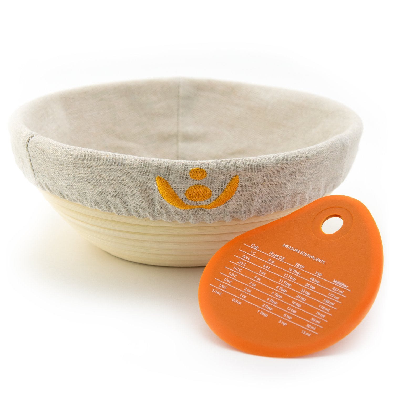 Banneton Bread Proofing Basket, Sourdough Brotform Natural Rattan Basket for Bread Baking - Includes Cloth Liner & Premium Silicone Dough Scraper with Measurement Conversions - 9 inch, Cozyful Kitchen by Cozyful