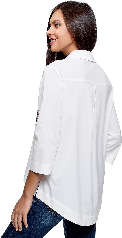 oodji Ultra Mujer Camisa Holgada con Bordado