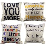 HOSL P63 4pcs Sofa Simple Home Decor Design Throw Pillow Case Decor Cushion Covers Square (4x Love Pillow Covers)