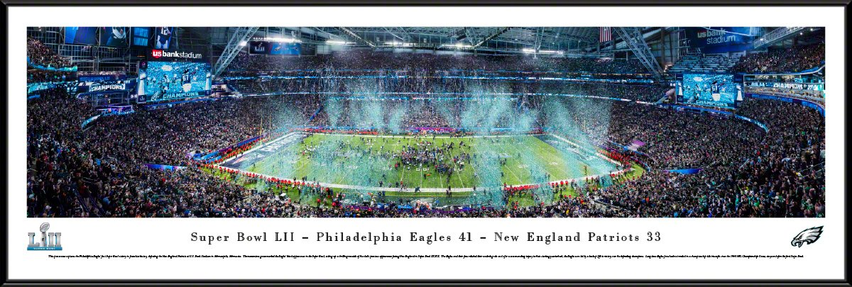Super Bowl 2018 Champions, Philadelphia Eagles - 40.25x13.75-inch Standard Framed Picture by Blakeway Panoramas by Blakeway Worldwide Panoramas, Inc.