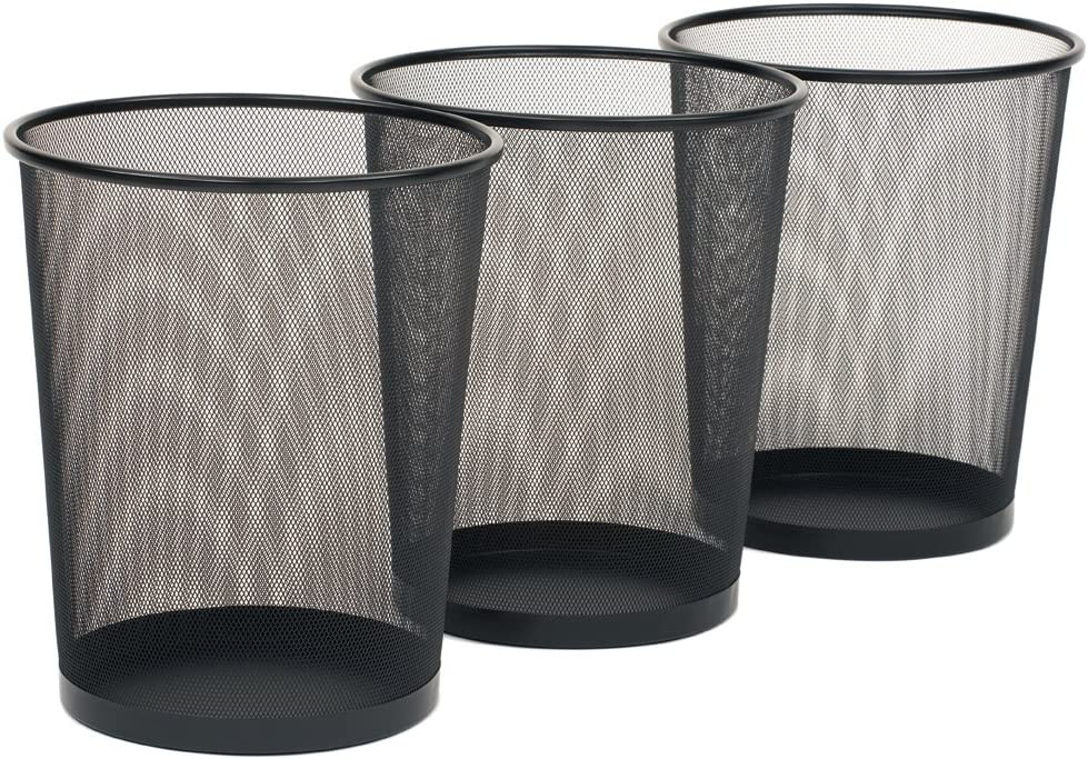 Seville Classics 3 Pack Round Mesh Wastebasket Recycling Bin 6 Gal 12 Diameter Top X 14 H Black Amazon Co Uk Kitchen Home