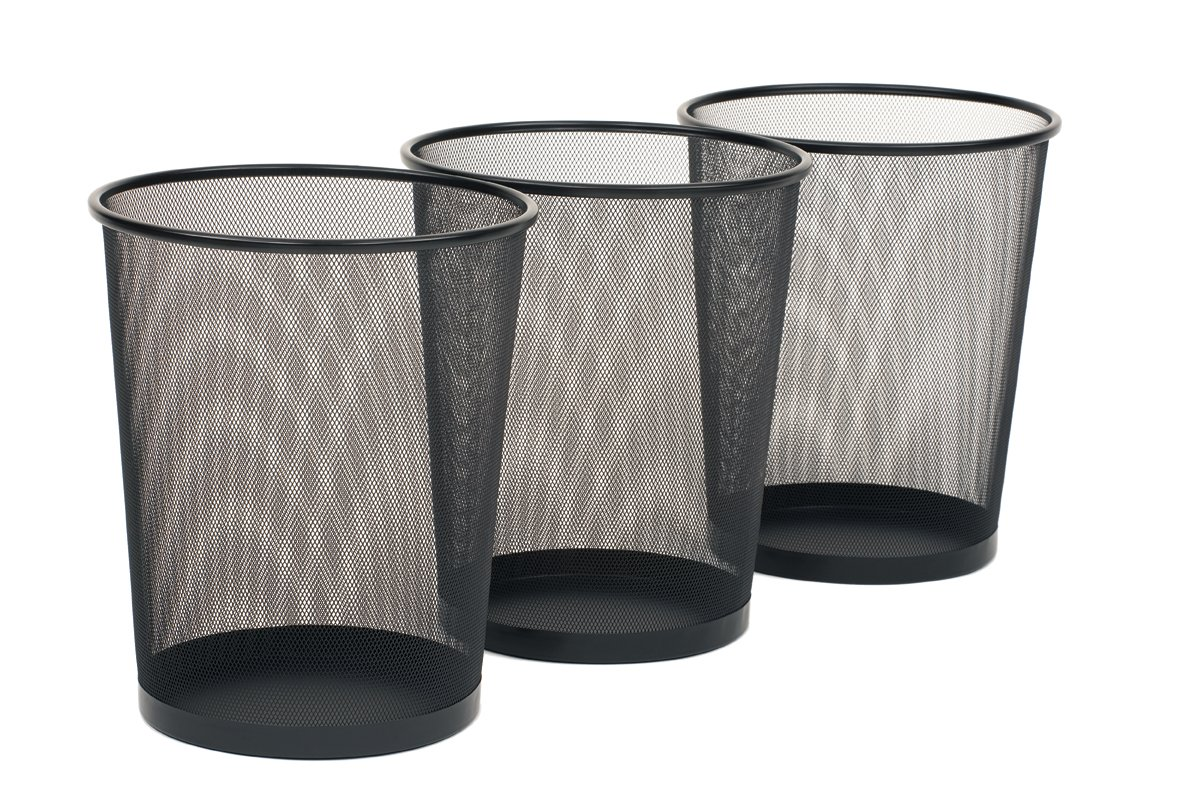 Seville Classics 3-Pack Round Mesh Wastebasket Recycling Bin, 6 Gal, 12'' Diameter Top x 14'' H, Black by Seville Classics