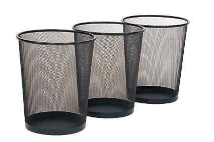 Amazon.com: Seville Classics 3-Pack Round Mesh Wastebasket Recycling ...