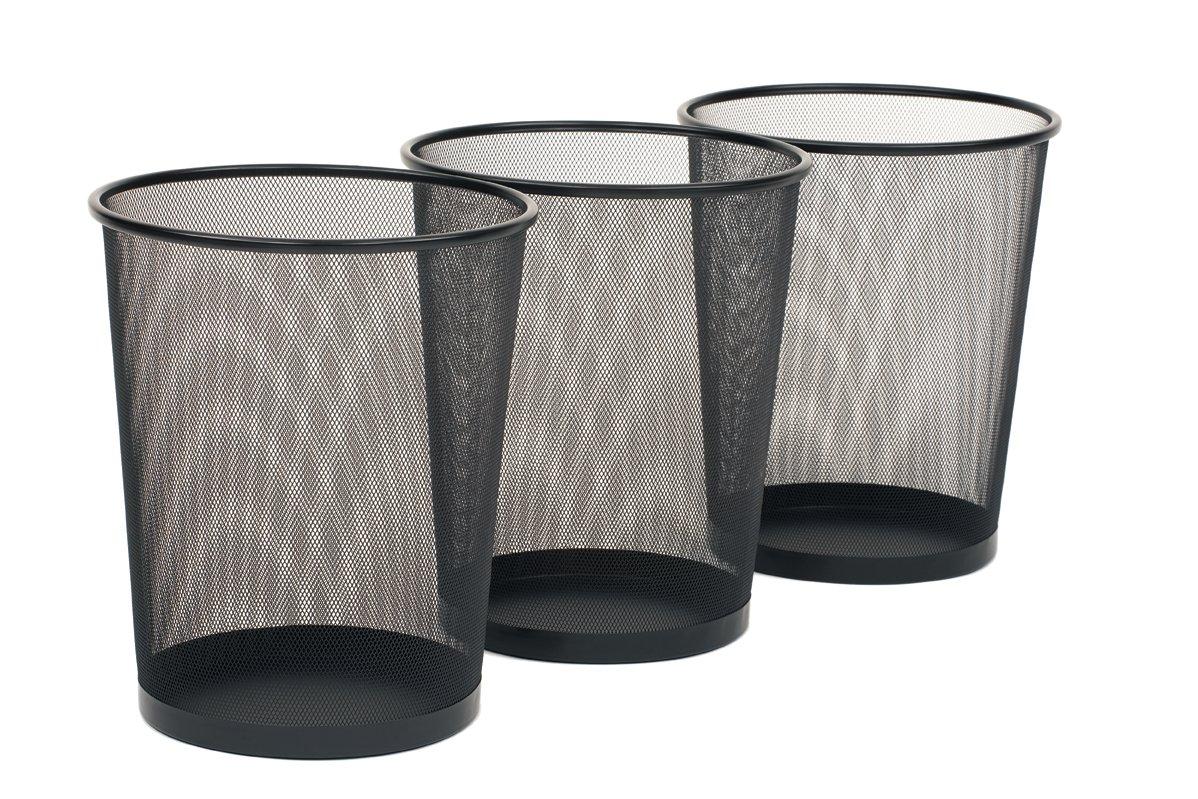 Seville Classics 3-Pack Round Mesh Wastebasket Recycling Bin, 6 Gal, 12'' Diameter Top x 14'' H, Black