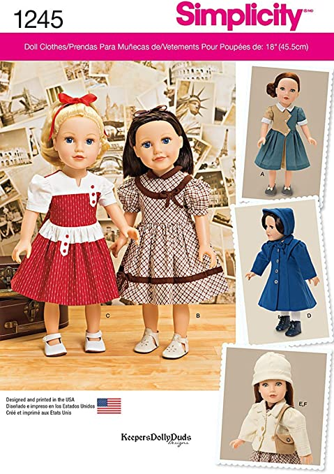 Simplicity-... Simplicity Crafts Sewing Pattern 1486 Vintage Style Doll Clothes