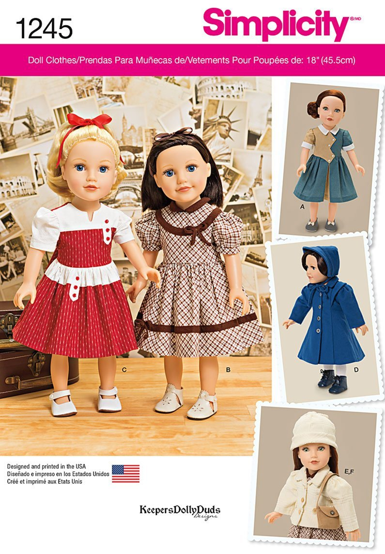 Os One Size Simplicity Creative Patterns 1245 Vintage Style 18-Inch Doll Clothes Size