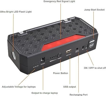 Ultra Compacto] 12000mAh 400AMP Peak Bolt Power G06A Potenciador ...
