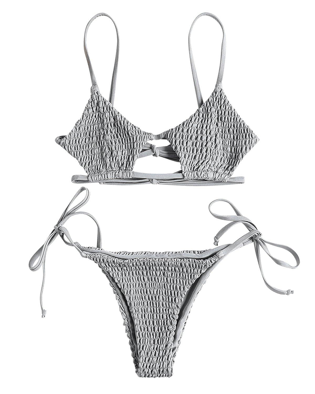 b3f1bc8f18 Amazon.com  ZAFUL Women s Sexy Keyhole Smocked String Bikini Set Tie Side  Bikini Thong Swimsuit  Clothing