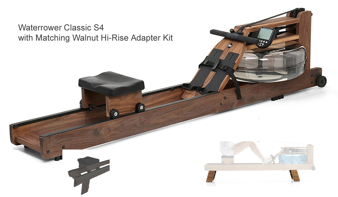 Waterrower Classsic Rower Rowing Machine S4 with Hi-Rise Attachment