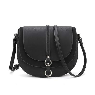 140bccd474 Women Crossbody Bag Saddle Shoulder Bag Small Satchel Purse and Black Tote  Handbag