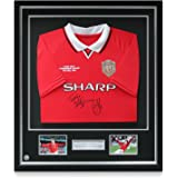 Deluxe Framed Teddy Sheringham & Ole Gunnar Solskjaer Signed 1999 Manchester United Champions League Shirt with Silver Inlay