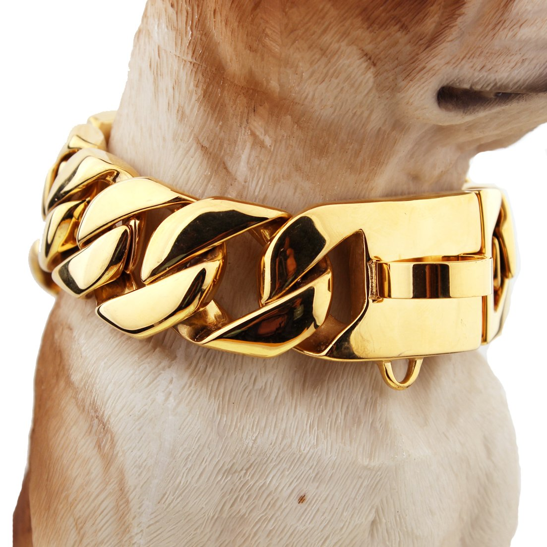 FANS JEWELRY Super Huge Gold Plated Trainning Collars 316L Stainless Steel Dog Choker Curb Cuban Chain Necklacee(22inches,30mm) by FANS JEWELRY