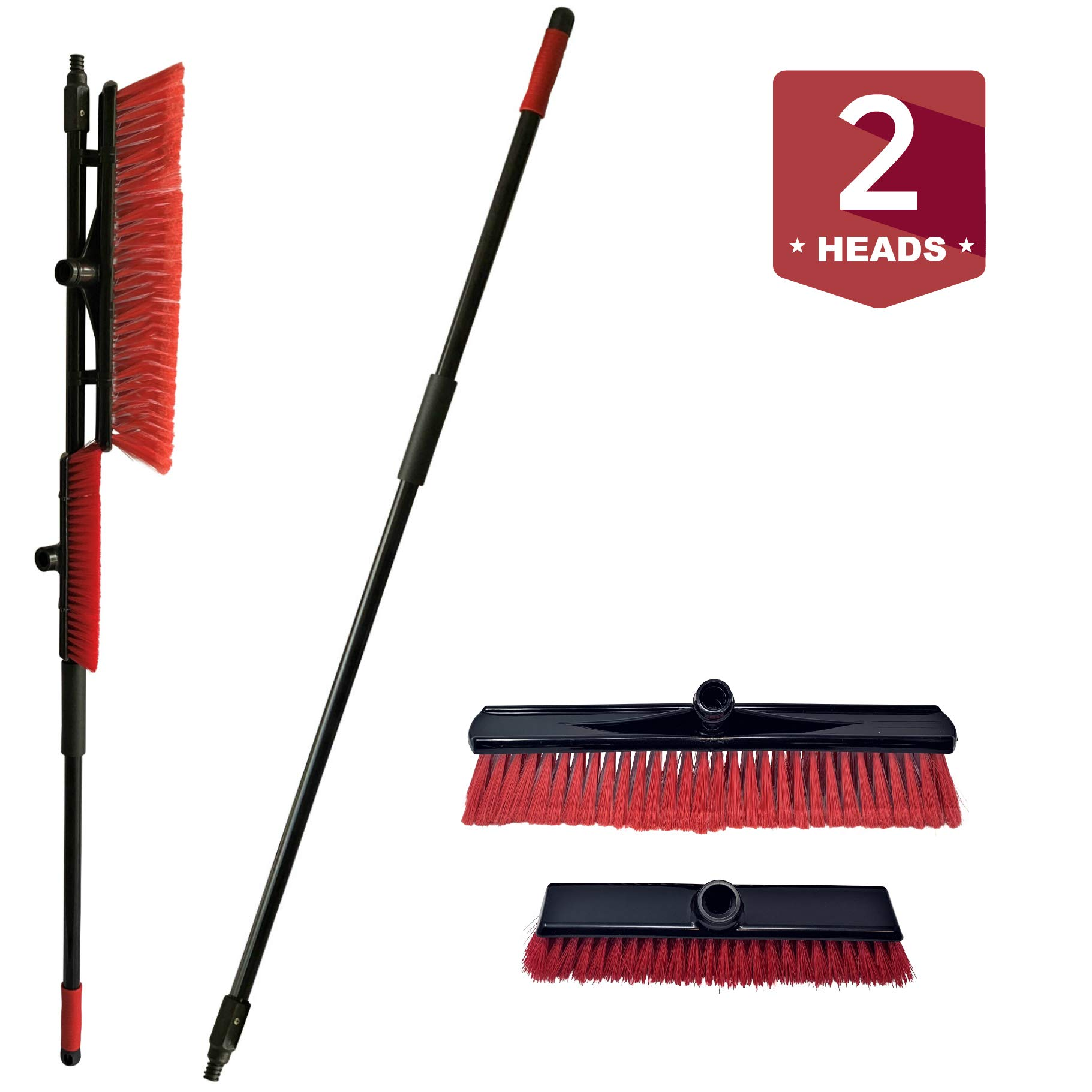 Patio and Deck Brush Combo Set - 18 Inch Head Outdoor Push Broom with Deck Brush Scrub Head by FOXTROT