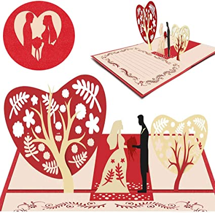 3d Carte De Saint Valentin Carte D Amour Romantique Carte Anniversaire Marriage Pour La Famille Enfants Amis Amoureux De La Saint Valentin Joyeux Anniversaire Rouge Mariage Amazon Fr Fournitures De Bureau