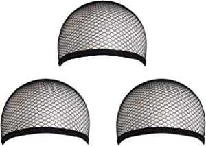 MapofBeauty 3 Pieces Elastic Hair Mesh Net One Size Wig Caps(Black)