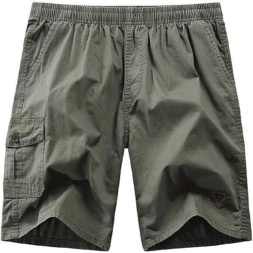 WAWAYA 男性弾性ウエストルーズストレートレッグマルチポケットソリッドサマーカーゴショートパンツ