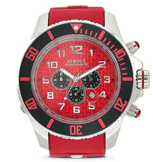 Kyboe! Reloj de cuarzo analógico para hombre de goma rojo KYC-001-55