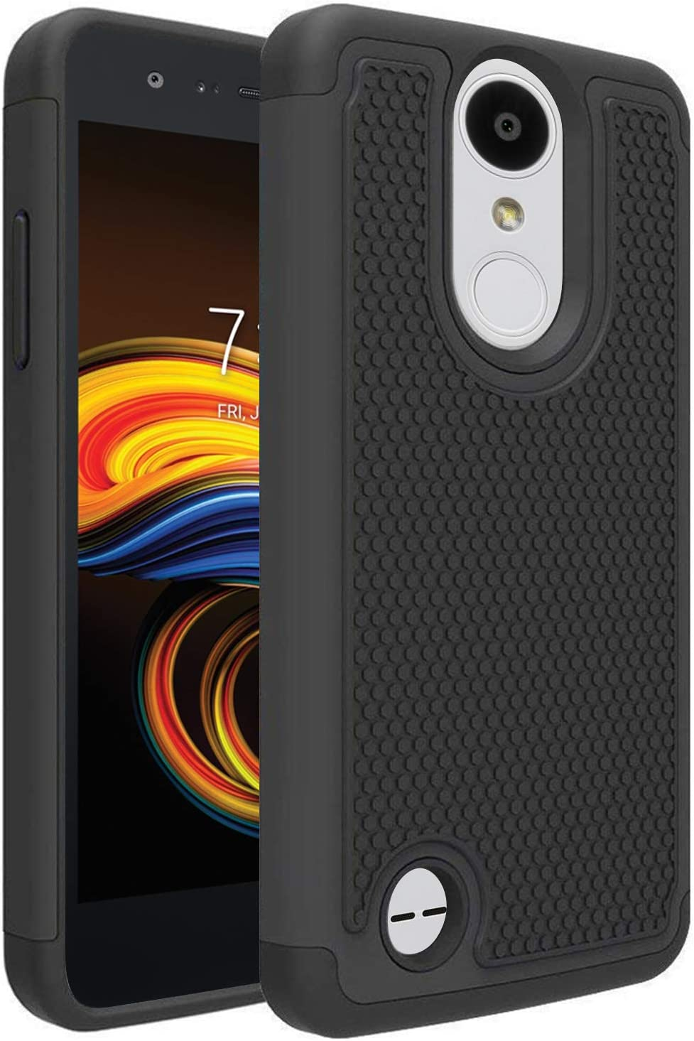 LG Aristo 3/LG Aristo 2/LG Tribute Empire/K8S/Tribute Dynasty/Phoenix 4/Rebel 4/Zone 4/Rebel 3 LTE/Risio 3/LG K8+ Plus/Phoenix 3/Fortune 2 Phone Case, OEAGO [Shockproof] Hybrid Dual Layer Case, Black