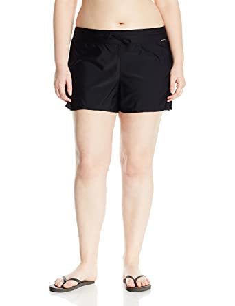 a1f476b4e0d8a ZeroXposur Women's Plus Size Action Swim Boardshort with Built-in Brief at  Amazon Women's Clothing store: