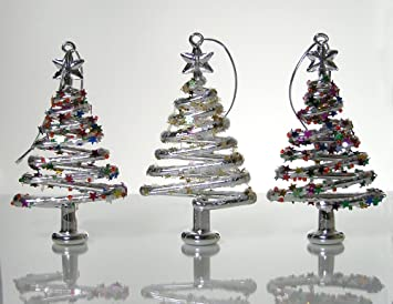 banberry designs glass christmas tree ornaments set of 3 xmas trees with stars snowflake