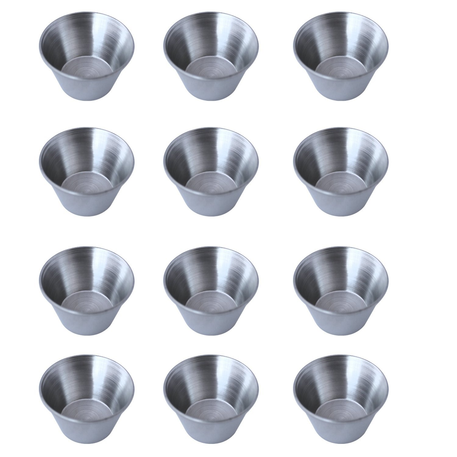 12 Polished Stainless Steel Portion Cups NA