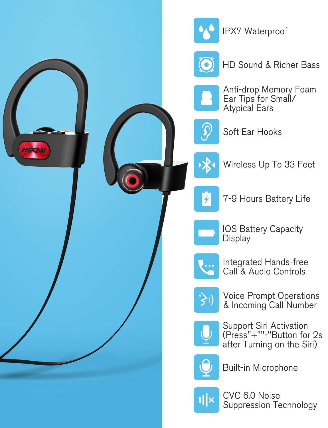 Mpow-Flame-Bluetooth-Headphones-Waterproof-IPX7-Wireless-Earbuds-Sport-Richer-Bass-HiFi-Stereo-in-Ear-Earphones-wCase-7-9-Hrs-Playback-Noise-Cancelling-Microphone-Comfy-Fast-Pairing