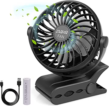 Travel and Outdoor Office USB Clip On Desktop Fans Portable Stroller Mini Personal with Rechargeable Operated Quiet Desk Fan for Home