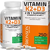 Vitamin K2 (MK7) with D3 Supplement Bone and Heart Health Non-GMO Formula 5000 IU Vitamin D3 & 90 mcg Vitamin K2 MK-7 Easy to Swallow Vitamin D & K Complex, 250 Capsules